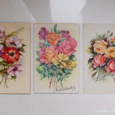Postales: LOTE DE 3 POSTALES ORIGINALES AÑOS 50 DE FLORES. Lote 133608806