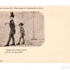 Postales: DIBUJOS DE MODEST URGELL. HOMES ALTS Y HOMES PETITS CASI TOTS SON PRESUMITS. . Lote 134858886