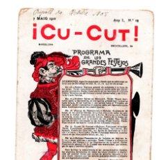 Postales: BARCELONA 1902 REVISTA SATÍRICA CU CUT.. Lote 172989004