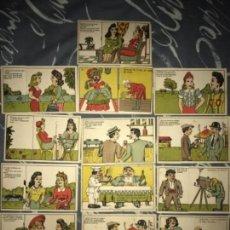 Postales: LOTE POSTALES ANTIGUAS CÓMICAS ADIVINANZAS. Lote 135794990