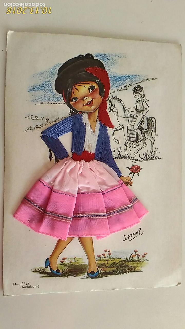 POSTAL DE NIÑOS. # 24. JEREZ, ANDALUCÍA. CARICATURA DE ISABEL. BORDADA Y TELA. CIRCULADA. (Postales - Dibujos y Caricaturas)
