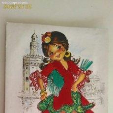 Postales: POSTAL DE NIÑOS. # 9. ANDALUZA. CARICATURA DE ISABEL. BORDADA. CIRCULADA.. Lote 136207250