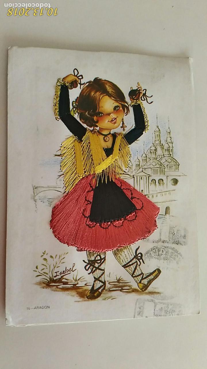 POSTAL DE NIÑOS. # 16. ARAGÓN. CARICATURA DE ISABEL. BORDADA. CIRCULADA. (Postales - Dibujos y Caricaturas)