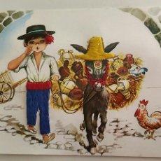 Postales: POSTAL. NIÑO CON BURRO. EDITORIAL CLIK CLAK. BORDADA. CIRCULADA.. Lote 136235838
