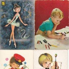 Postales: 4 POSTALES CON DIBUJOS INFANTILES. ESCRITAS AÑOS 60. Lote 136717862