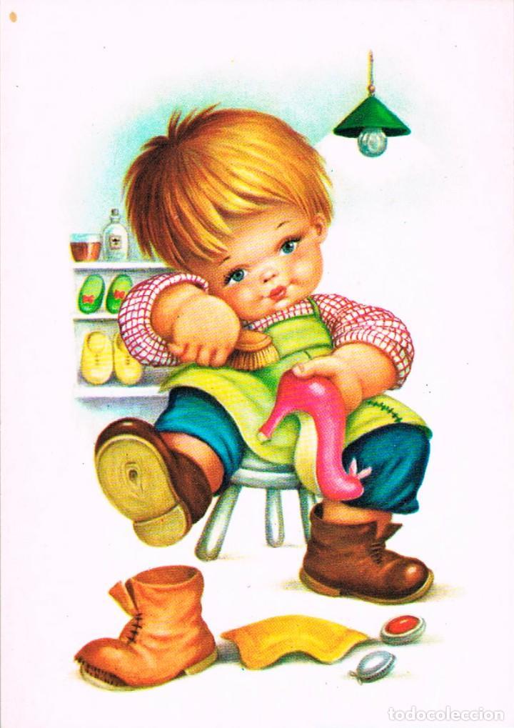 UN NIÑO LIMPIANDO ZAPATOS (Postales - Dibujos y Caricaturas)