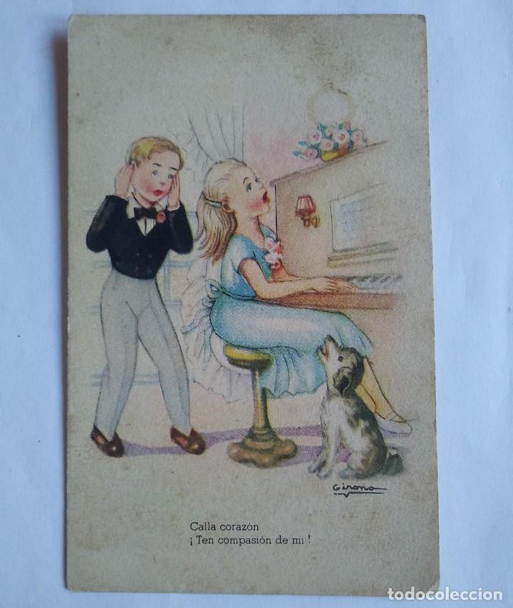 MELODÍAS SELECTAS GIRONA SERIE 153 TOCANDO EL PIANO CALLA CORAZÓN TEN COMPASIÓN DE MÍ (Postales - Dibujos y Caricaturas)