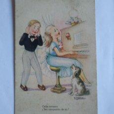 Postales: MELODÍAS SELECTAS GIRONA SERIE 153 TOCANDO EL PIANO CALLA CORAZÓN TEN COMPASIÓN DE MÍ. Lote 139443690