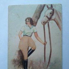 Postales: MUJER CON CABALLO REINA 53/2 PILAR ARANDA. Lote 140119694