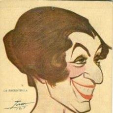 Postales: LA ARGENTINITA (BAILAORA). BIOGRAFIA AL DORSO. CARICATURA DE MANUEL TOVAR EN 1917.. Lote 141922150