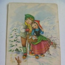 Postales: BONITA POSTAL ROMANTICA CON DIBUJO DE NIÑOS PASTORES CON CABRA . AÑOS 40. Lote 141973414