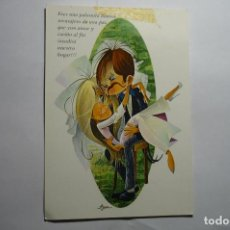 Postales: POSTAL PAREJA NOVIOS .-DIBUJO ASUN--ESCRITA. Lote 143759990
