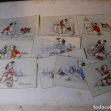 Postales: LOTE 10 POSTALES DE PERRITOS Y GATITOS (PERROS Y GATOS) - IMP. BUSQUETS GRUALRT - POSTAL: 9 X 14 CM.. Lote 145021582