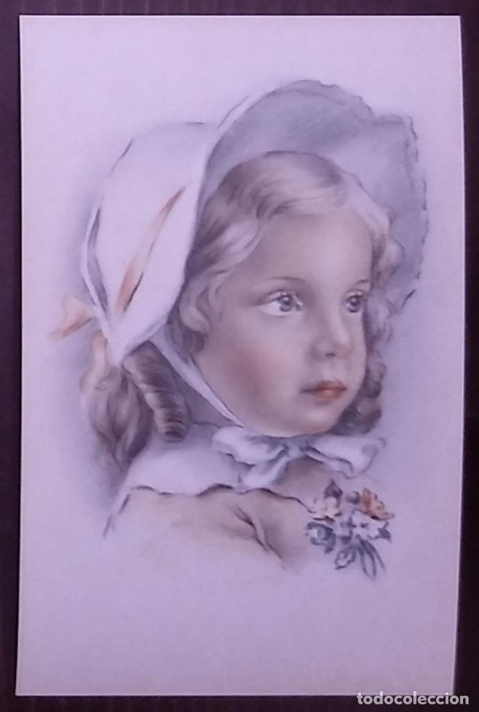 Postales: Postal años 50 niña dibujada colores pastel Serie 600 Muy buen estado 14x9 Impresa en España - Foto 2 - 146430718