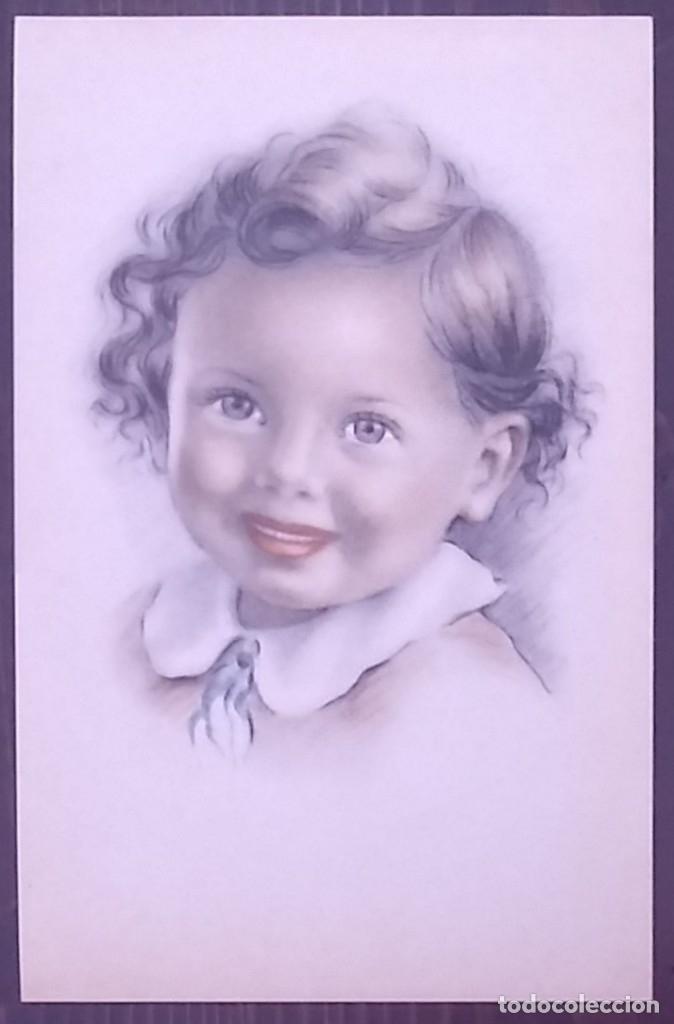 Postales: Postal años 50 niña dibujada colores pastel Serie 600 Muy buen estado 14x9 Impresa en España - Foto 2 - 146433082