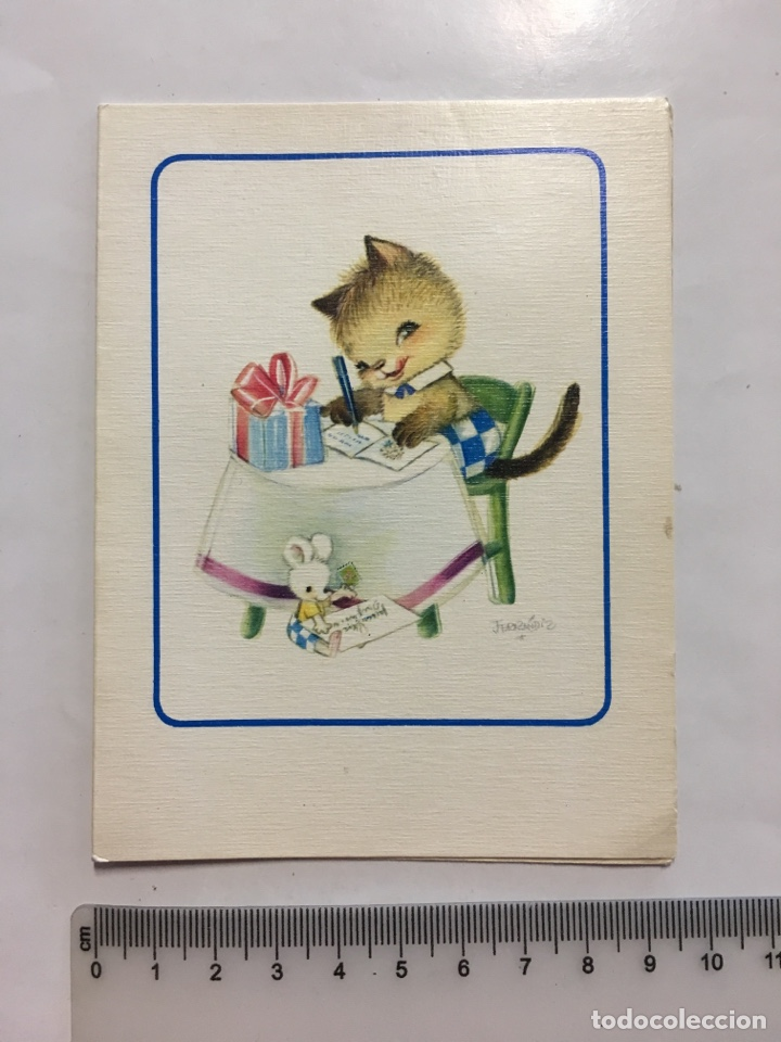 FELICITACIÓN. DIPTICO. SUBI. ILUSTRACIÓN FERRANDIZ. H. 1968? (Postales - Dibujos y Caricaturas)