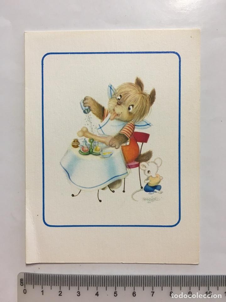 FELICITACIÓN. DIPTICO. SUBÍ. ILUSTRACIÓN FERRANDIZ. H. 1960? (Postales - Dibujos y Caricaturas)
