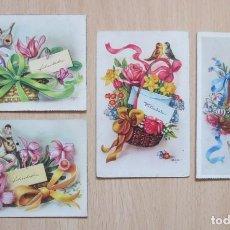 Postales: LOTE DE 4 POSTALES ANTIGUAS FLORES ILUSTRADAS POR ZSOLT. Lote 147617046