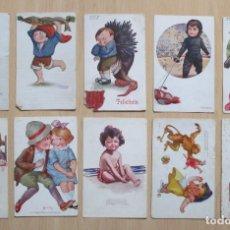 Postales: LOTE DE 10 TARJETAS POSTALES ANTIGUAS INFANTILES ILUSTRADAS DE EDICIONES VICTORIA. Lote 148057254