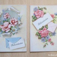 """Postales: LOTE DE 2 TARJETAS POSTALES ANTIGUAS """"FELICIDADES"""" TRÍPTICO - C Y Z 1076 Y 1077. Lote 148221762"""