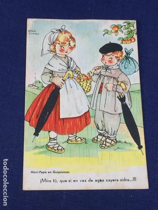 POSTAL MARI PEPA EN GUIPUZCOA MIRA TU EN VEZ AGUA CAYERA SIDRA MARIA CLARET VALVERDE SAN SEBASTIAN (Postales - Dibujos y Caricaturas)