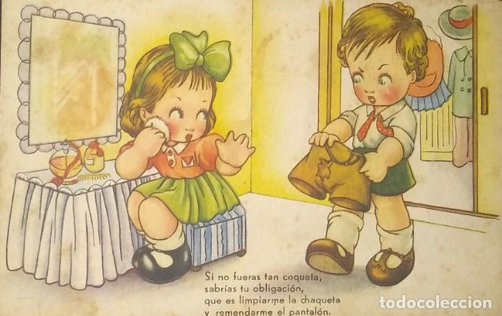 1945 SI NO FUERAS TAN COQUETA, SABRIAS TU OBLIGACIÓN, QUE ES LIMPIARME LA CHAQUETA Y REMENDARME... (Postales - Dibujos y Caricaturas)