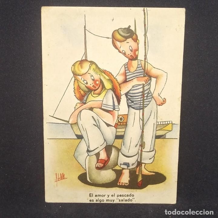 Postales: Colección pesca. Serie 4. Num. 1 El amor y el pescado es algo muy salado - Foto 2 - 151822570