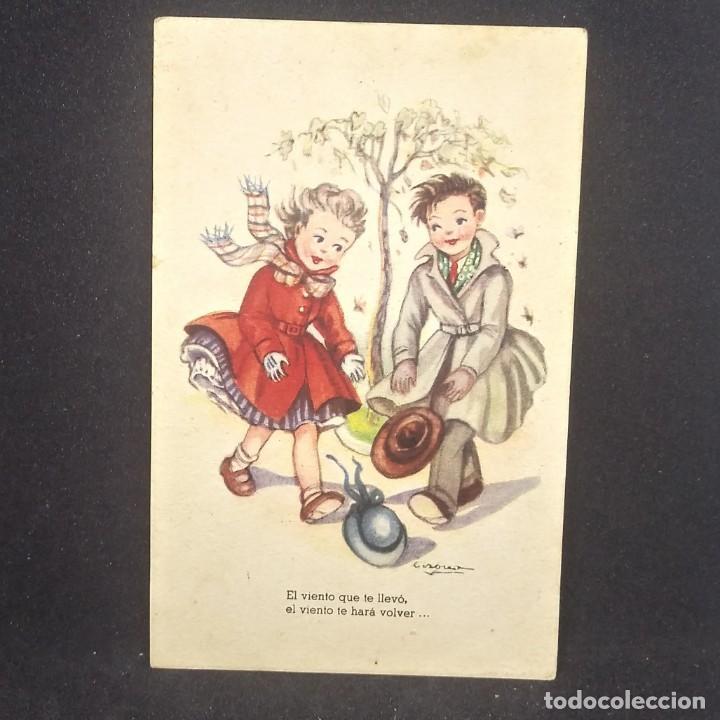 Postales: 1952 Melodías selectas Colección I. El viento. Ilustrador Girona. Serie 153 - Foto 2 - 151823626