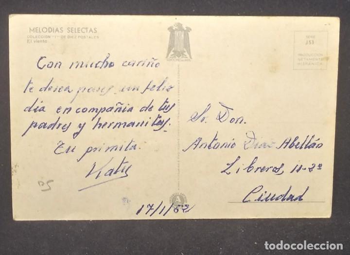 Postales: 1952 Melodías selectas Colección I. El viento. Ilustrador Girona. Serie 153 - Foto 3 - 151823626