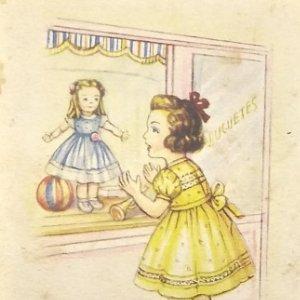 Melodías en Boga. Colección Y. Te quiero. Niña mirando una muñeca en tienda de juguetes. Serie 132