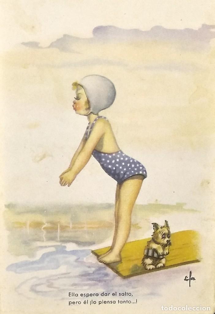 1949 SERIE 157/4. NIÑA EN BAÑADOR (Postales - Dibujos y Caricaturas)
