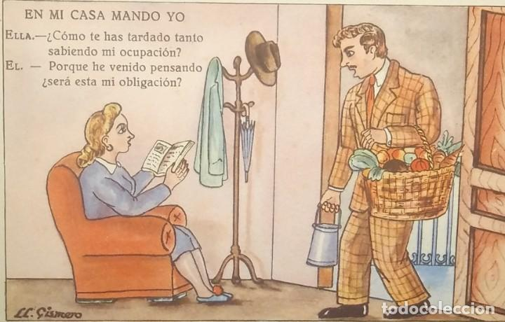 1948 EN MI CASA MANDO YO. ILUSTRADA POR LL.GISMERO. POSTALES BEA. SERIE VII (Postales - Dibujos y Caricaturas)