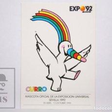 Postales: POSTAL PUBLICITARIA EXPO SEVILLA 92 - 1. CURRO. MASCOTA OFICIAL EXPOSICIÓN UNIVERSAL SEVILLA, 1992. Lote 153671074