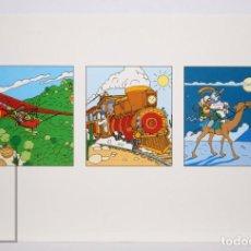 Postales: POSTAL PUBLICITARIA EXPO SEVILLA 92 - AVENTURAS DE CURRO / VIAJANDO - ED. BLUE COW - AÑO 1992. Lote 153672258