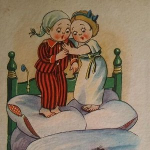 Sueño interrumpido. Caricaturas niños. Postal antigua.