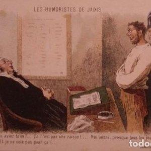 Daumier. Les humoristes de jadis. Postal antigua juicio, juzgado, jueces, abogados