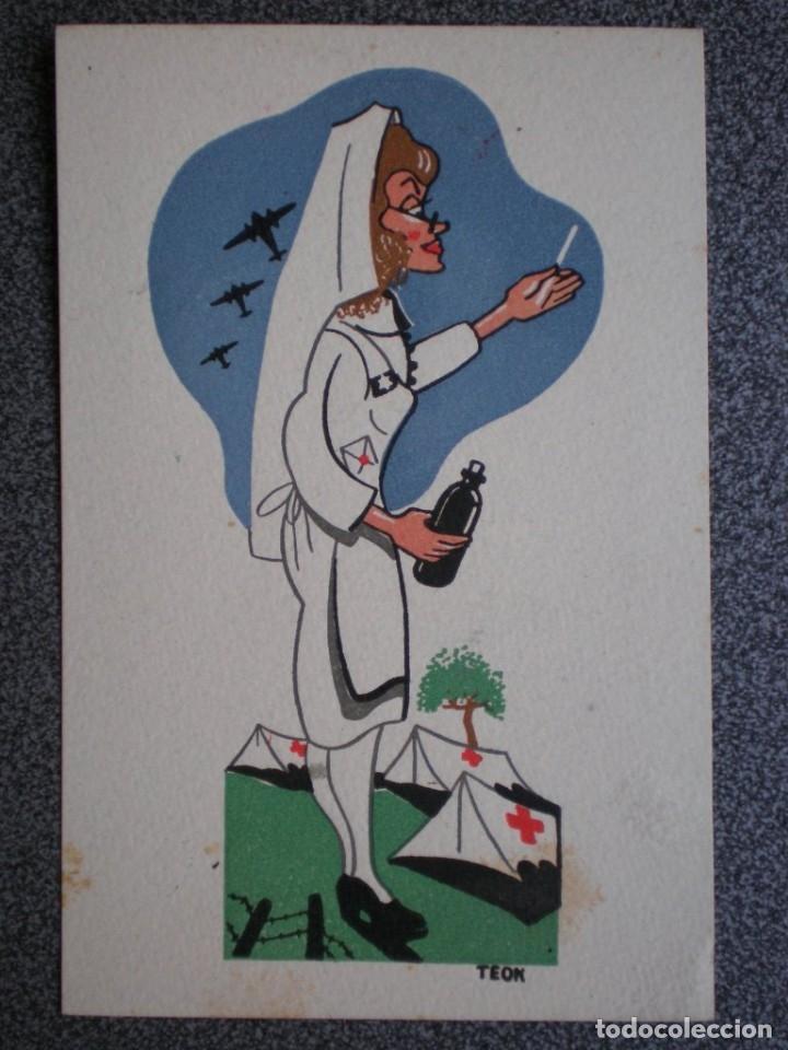 GUERRA CIVIL COLECCIÓN COMPLETA 10 POSTALES CARICATURISTA TEOK BONITAS INCLUYE SOBRE ORIGINAL COLECC (Postales - Dibujos y Caricaturas)