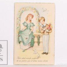 Postales: POSTAL INFANTIL ILUSTRADA - C Y Z, 820. FELIZ EDAD, ESTROFA PREFERIDA DE UN... - CIRCULADA, 1950. Lote 156498974