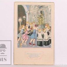 Postales: POSTAL INFANTIL ILUSTRADA POR ELÍAS - POEMES I CANÇONS, A 1, VIROLAI - ED. ARTIGAS - AÑO 1951. Lote 156500814