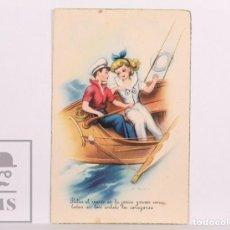 Postales: POSTAL INFANTIL ILUSTRADA POR F. FREIXAS - C Y Z, 807. PULSA EL VIENTO EN LA... - CIRCULADA, 1951. Lote 156501418