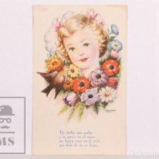 Postales: POSTAL INFANTIL ILUSTRADA POR GIRONA - TUS BELLOS OJOS AZULES Y TU GRACIA... - ED. ARTIGAS, AÑO 1944. Lote 156501958