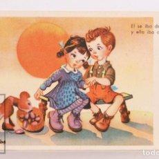 Postales: POSTAL INFANTIL ILUSTRADA POR FARIÑAS - ÉL SE IBA DECLARANDO Y ELLA IBA CALCULANDO - AÑO 1945. Lote 156502254