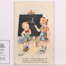 Postales: POSTAL INFANTIL ILUSTRADA POR FARINYES - CMB, SERIE Nº 34. LA MAESTRA... - CIRCULADA, AÑOS 40. Lote 156502450