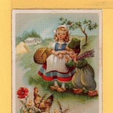 Postkarten - Postal de Dibujo Pareja Holandesa Dando de Comer Gallinas Editor Imprenta España Escrito Año 1957 - 157689522