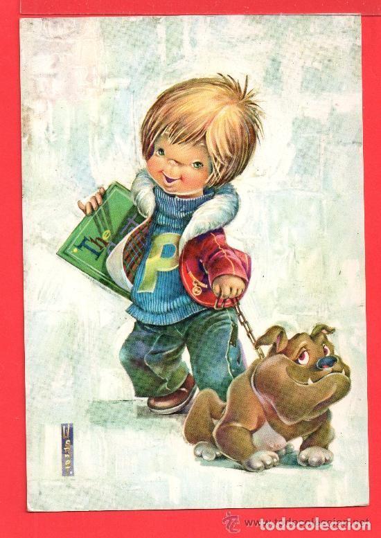 POSTAL DE NIÑO CON PERRO DIBUJO DE NARCOT EDITADA C Y Z ESCRITA EL AÑO 1966 (Postales - Dibujos y Caricaturas)