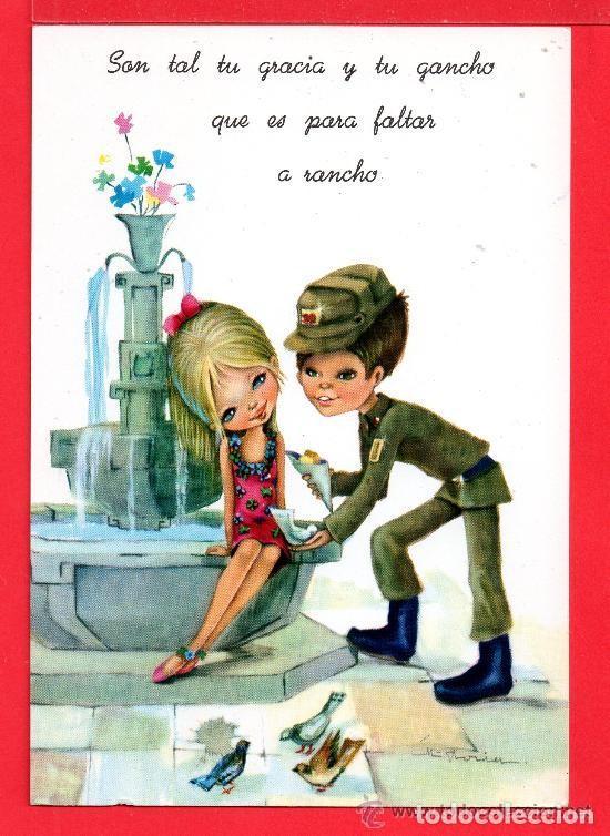 POSTAL DE NIÑA Y NIÑO EL SOLDADO DIBUJO DE M. RIORES EDITADA C Y Z ESCRITA EL AÑO 1967 GASTOS DE EN (Postales - Dibujos y Caricaturas)