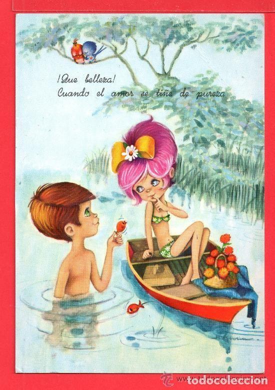 POSTAL DE NIÑO Y NIÑA DANDO UN PEZ DIBUJO MARIA GUT EDITADA C Y Z ESCRITA EL AÑO 1968 (Postales - Dibujos y Caricaturas)