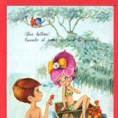 Postales: POSTAL DE NIÑO Y NIÑA DANDO UN PEZ DIBUJO MARIA GUT EDITADA C Y Z ESCRITA EL AÑO 1968. Lote 157827342