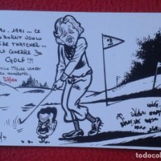 Postales: POSTAL POST CARD MAGGIE MARGARET TATCHER POLITIC POLITICAL SATIRE GUERRE GOLF WAR GULF SADAM HUSEIN. Lote 157891846