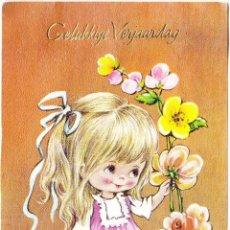 Postales: POSTAL FELIZ CUMPLEAÑOS HOLANDES - DORSO ESCRITO. Lote 157954286